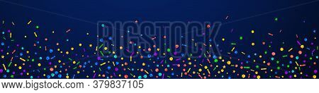 Festive Pleasant Confetti. Celebration Stars. Festive Confetti On Dark Blue Background. Adorable Fes