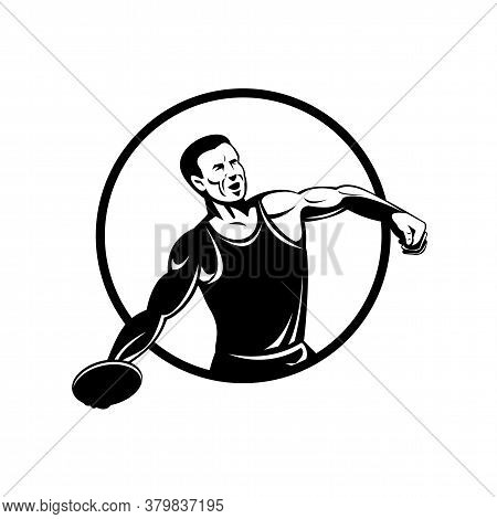 Retro Style Illustration Of A Discus Throw Or Disc Throw, A Track And Field Event In Which An Athlet