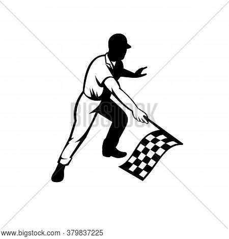 Retro Woodcut Black And White Style Illustration Of A Flagman Or Race Official Waving A Checkered Or