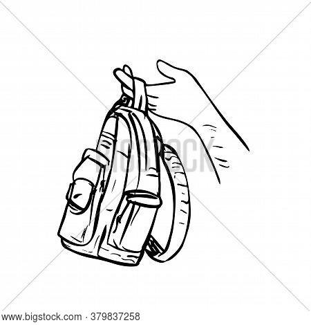 Scratchboard Style Illustration Of A Hand Holding Giving Away A Knapsack, Backpack, Carry Bag Or Bag