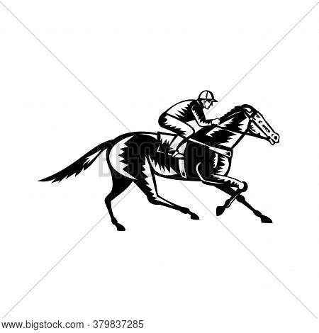 Retro Woodcut Style Illustration Of A Jockey Riding Thoroughbred Horse Racing Viewed From Side  On I