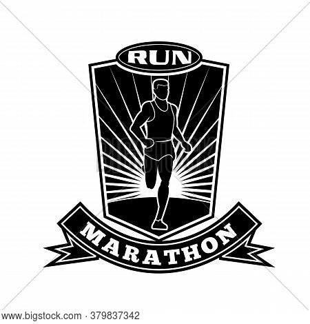 Black And White Illustration Of A Marathon Triathlete Runner Running Facing Front View Set Inside Sh