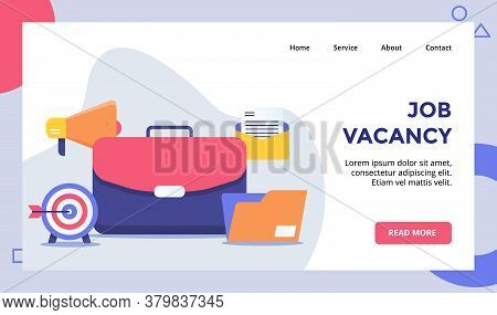 Job Vacancy Concept Campaign For Web Website Home Homepage Landing Page Template Banner With Flat St