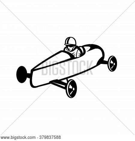 Retro Black And White Style Illustration Of A Soap Box Derby Or Soapbox Car Racer Racing In Competit
