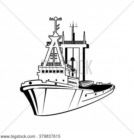 Retro Style Illustration Of A Harbor Tugboat Or Tug, A Type Of Vessel That Maneuvers Other Vessels B