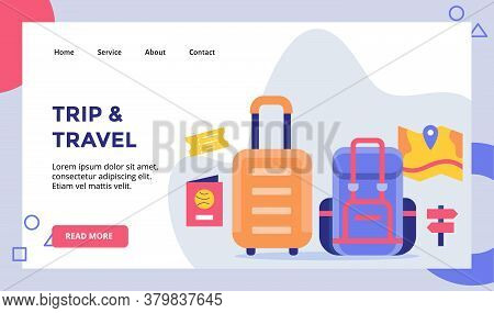 Trip And Travel Suitcase Backpack Concept Campaign For Web Website Home Homepage Landing Page Templa