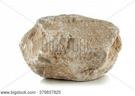 One Rough Fragment A Piece Of Limestone With A Pronounced Texture On A White Background