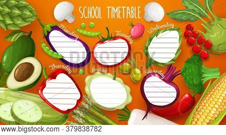School Timetable, Schedule Template With Vegetables. Classes Planner, Timetable With Artichoke, Toma