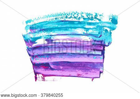 Violet, Indigo, Purple, Turquoise, Navy Blue Watercolor Texture Hand Paint On White Background. Ink