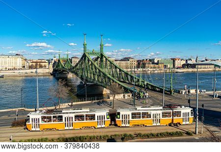 Freedom Bridge In Budapest, Hungary. Danube River. Connecting Buda And Pest. Hungarian Name: Szabads