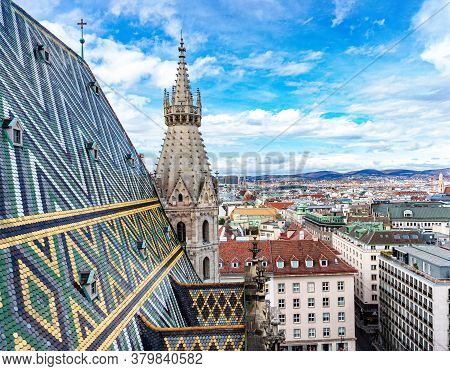 View From Top On Vienna. Roof Of St. Stephen's Cathedral. Austria