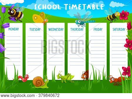 School Timetable With Meadow And Cartoon Funny Vector Insects. Bee And Horne, Butterfly And Caterpil