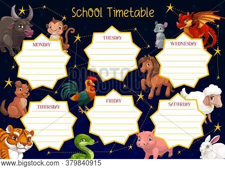 School Timetable Vector Template Of Student Education Schedule With Chinese New Year Zodiac Animals.