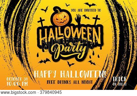 Halloween Party Vector Poster With Horror Night Pumpkin, Bats And Zombie Hand, Monster Lantern And C