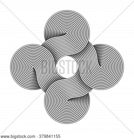 Bowen Knot Sign Made Of Four Connected Disks Composed Of Metal Wires. Command Key Symbol. Vector Ill