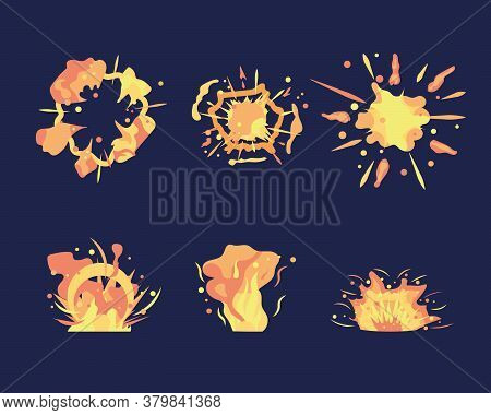 Animation For Game Of The Explosion Effect, Broken Into Separate Frames. Bomb Explosion And Fire Ban