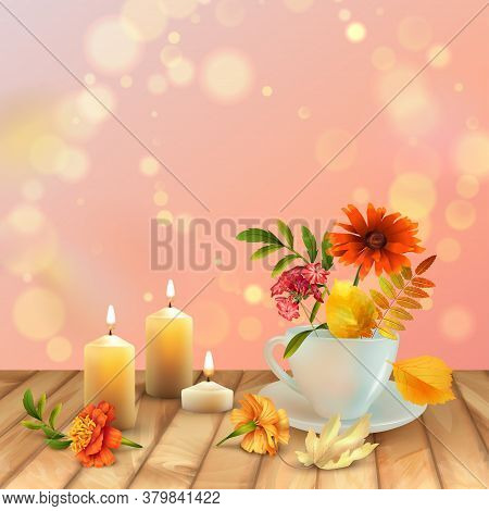 Autumn Floral Background. Autumn Background With Floral Bouquet In Teacup, Burning Candles And Falle