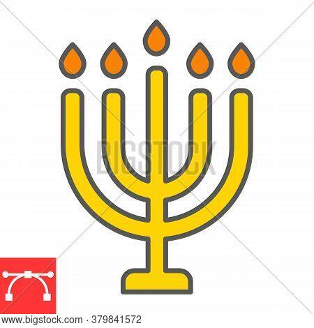 Big Menorah Color Line Icon, Rosh Hashanah And Candle, Menorah Sign Vector Graphics, Editable Stroke