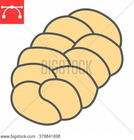 Challah Color Line Icon, Bread And Loaf, Braided Bread Sign Vector Graphics, Editable Stroke Filled