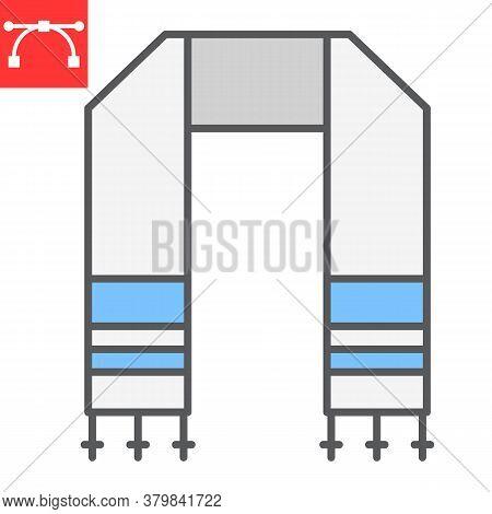Hebrew Tallit Color Line Icon, Rosh Hashanah And Hanukkah, Jewish Tallit Sign Vector Graphics, Edita