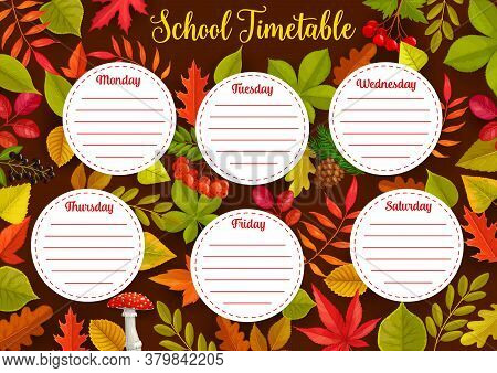 Education School Timetable With Autumn Leaves, Weekly Student Schedule Vector Template With Plants F
