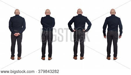 Full Portrait Of A Man From Behind On White