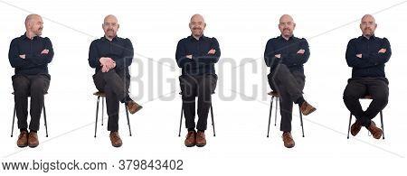 A Bald Man Sitting On White Background,
