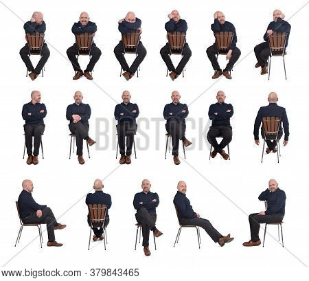 Large Group Of Man Sitting On Chair On White Background