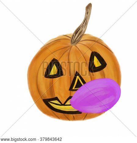 Jack O Lantern With Pink Bubble Gum Isolated On White. Watercolor Halloween Pumpkin. Mug, Sticker, S
