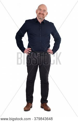 Ull Portrait Of Man Standing On White Background,