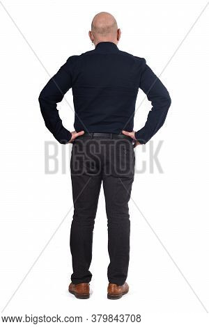 Full Portrait Of A Man From Behind On White Background, Hands On Hip