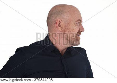 Profile Of Bald Man On White, Smiling