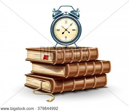 Classic Alarm clock on the stack pile of paper books. Education time concept icon. Time for study book with bookmark symbol. Isolated on white transparent background. 3D illustration.