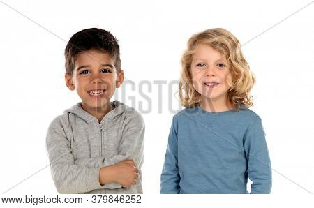Classmates looking at camera isolated on a white background