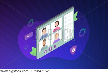Video Conference Isometric Vector Illustration Concept. Videoconference While Remote Working From Ho