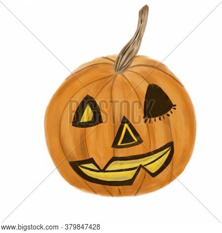 Jack O Lantern Halloween Pumpkin Winking Face Isolated On White Background. Watercolor Pumpkin. Kids
