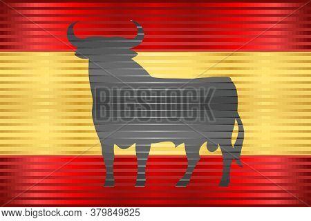 Flag Of Spain With An Osborne Bull - Illustration,  Three Dimensional Flag Of Spain