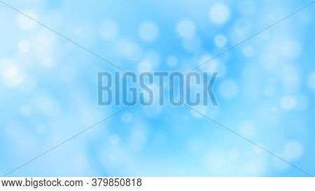 Christmas Winter Snowy Blurred Background. Abstract Blue Circular Bokeh Background. Vector Illustrat