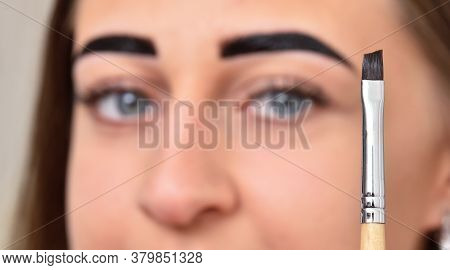 Brush For Dyeing Eyebrows With Henna And The Female Face Of A Young Woman