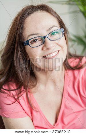 Latin Woman Smiling To Camera