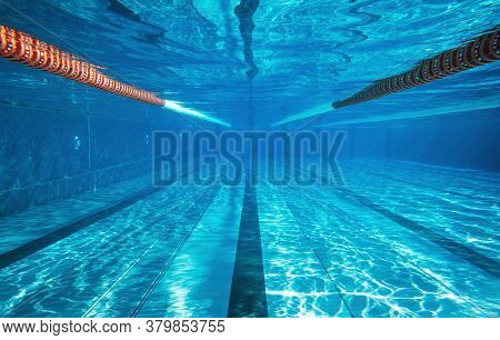 Empty Underwater Swimming Pool With Copy Space