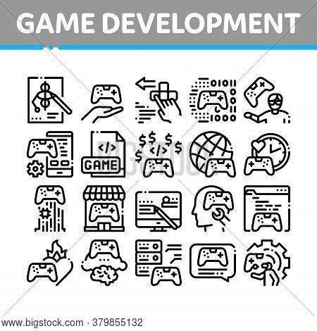 Video Game Development Collection Icons Set Vector. Game Development, Coding And Design, Developing