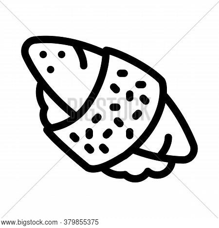 Sushi Roll Rice Fish Meat Icon Vector. Sushi Roll Rice Fish Meat Sign. Isolated Contour Symbol Illus