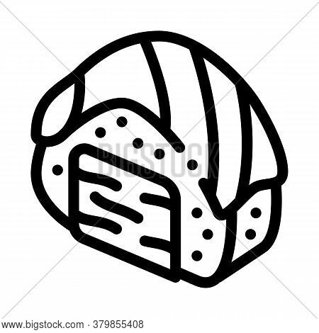 Sushi Roll With Salmon Icon Vector. Sushi Roll With Salmon Sign. Isolated Contour Symbol Illustratio