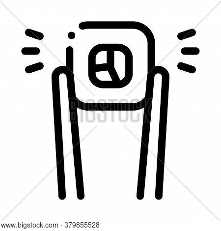Sushi Roll Holding Sticks Icon Vector. Sushi Roll Holding Sticks Sign. Isolated Contour Symbol Illus