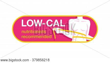 Nutritionists Recommended Low Cal - Weight Loss Diet Food Logo (isolated Button) - Emblem With Woman