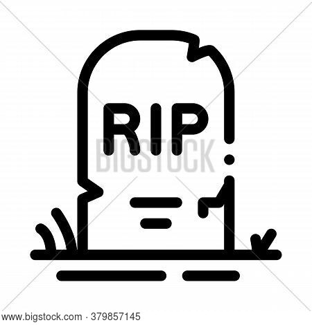 Halloween Rip Tombstone Icon Vector. Halloween Rip Tombstone Sign. Isolated Contour Symbol Illustrat
