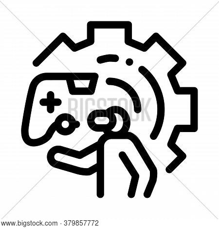 Game Development And Testing Icon Vector. Game Development And Testing Sign. Isolated Contour Symbol