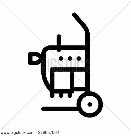 Drain Cleaning Machine On Cart Icon Vector. Drain Cleaning Machine On Cart Sign. Isolated Contour Sy