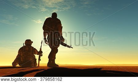 Silhouette of a soldier against the sun.,3d render